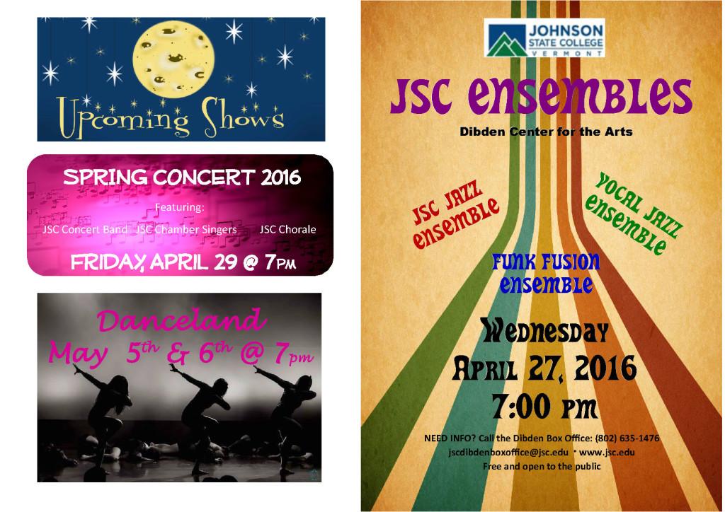 JSC Ensembles program - Spring 2016 (cover)
