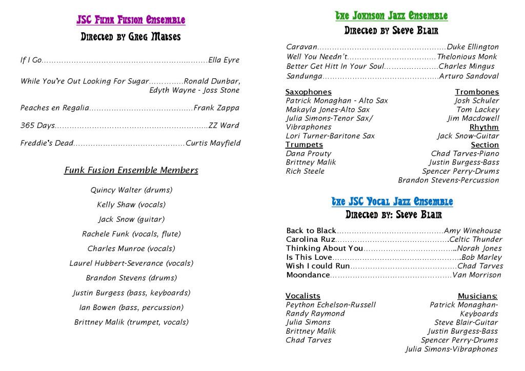 JSC Ensembles program - Spring 2016 (inside)
