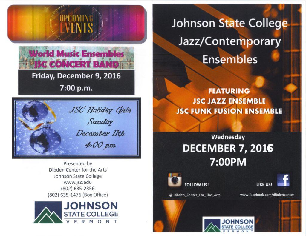 JSC Ensembles program - Fall 2016 (cover)