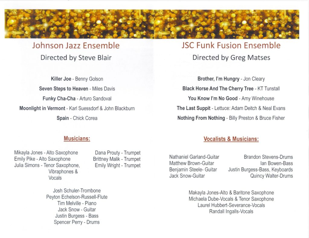 JSC Ensembles program - Fall 2016 (inside)