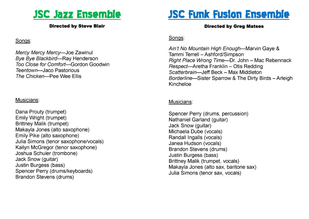 JSC Ensembles program - Spring 2017 (inside)