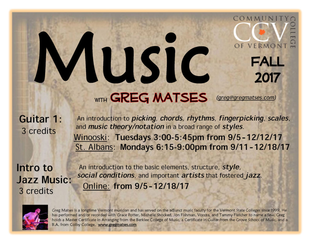 CCV Intro to Jazz Music - Guitar 1 flyer