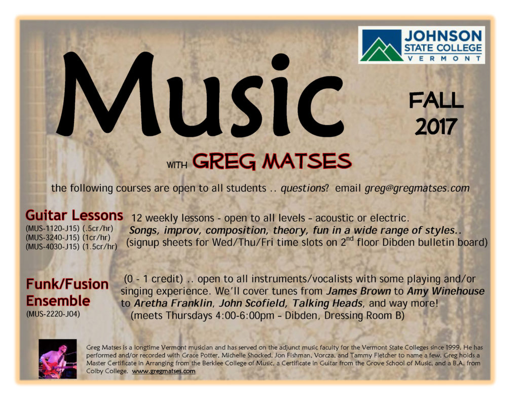 Johnson State College Guitar Lessons and Funk / Fusion Ensemble
